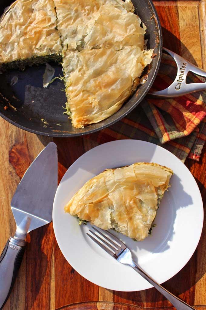sliced skillet spinach pie