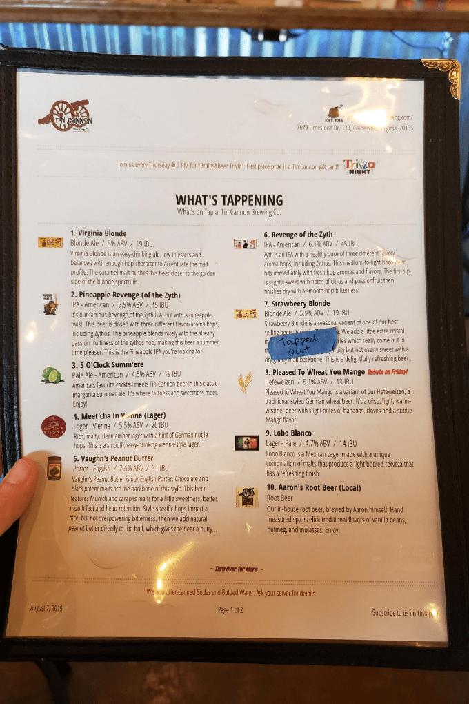 tin cannon brewery menu