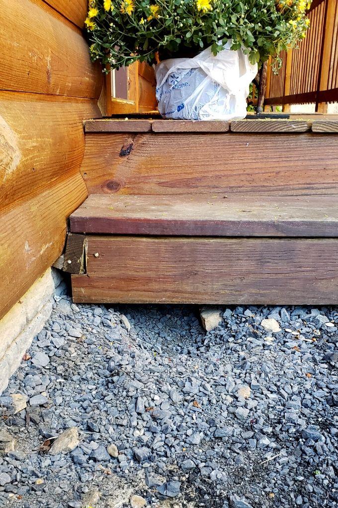 hole dug under steps