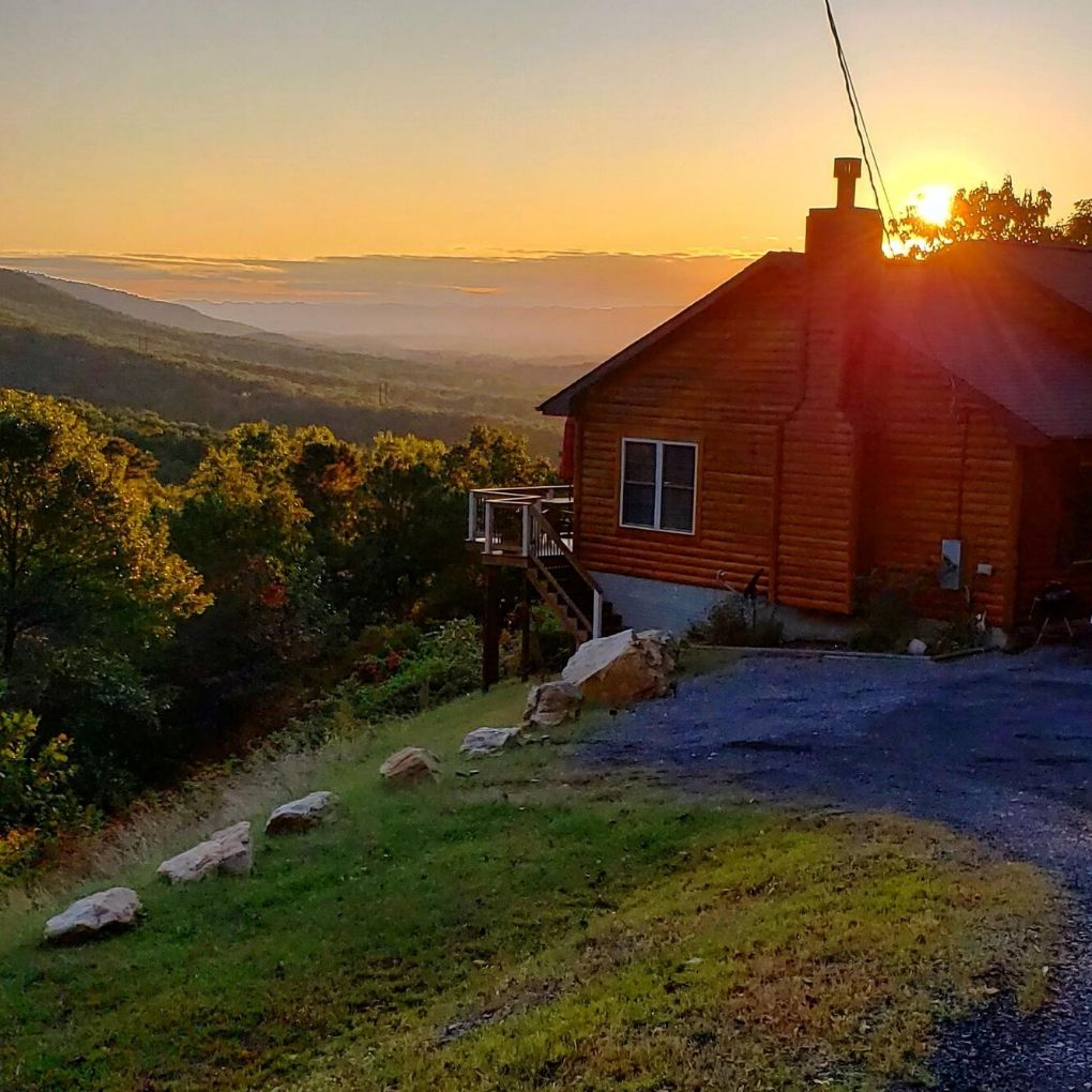 mountain sunset and our home