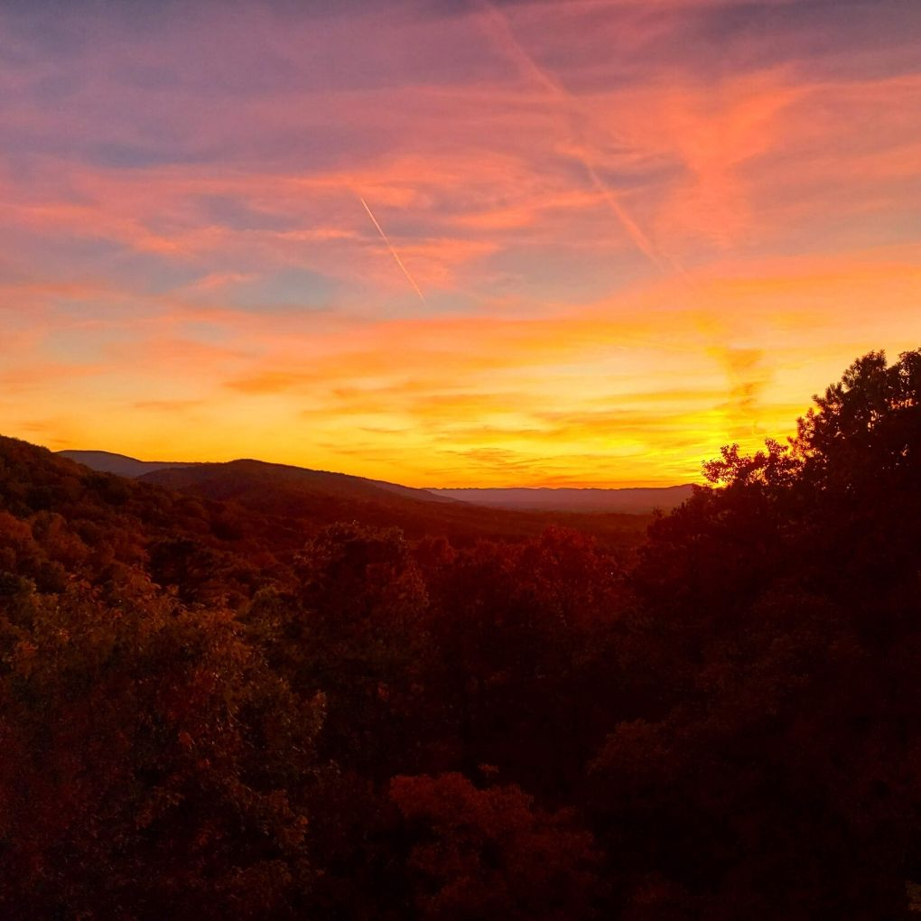 fiery fall mountain sunset from our deck