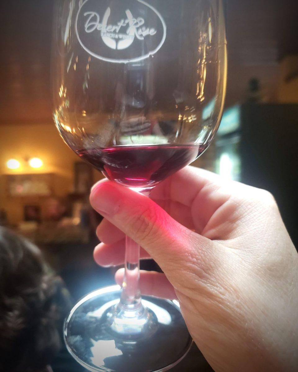 glass of Desert Rose wine