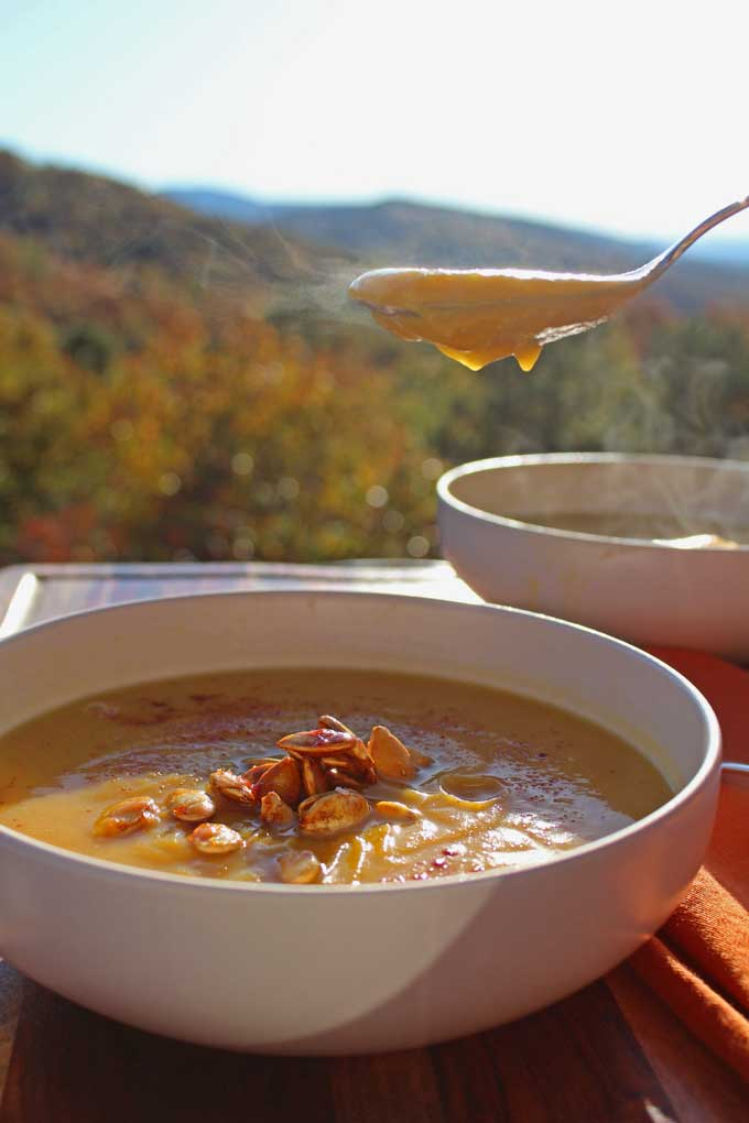 steamy soup on spoon with mountain view