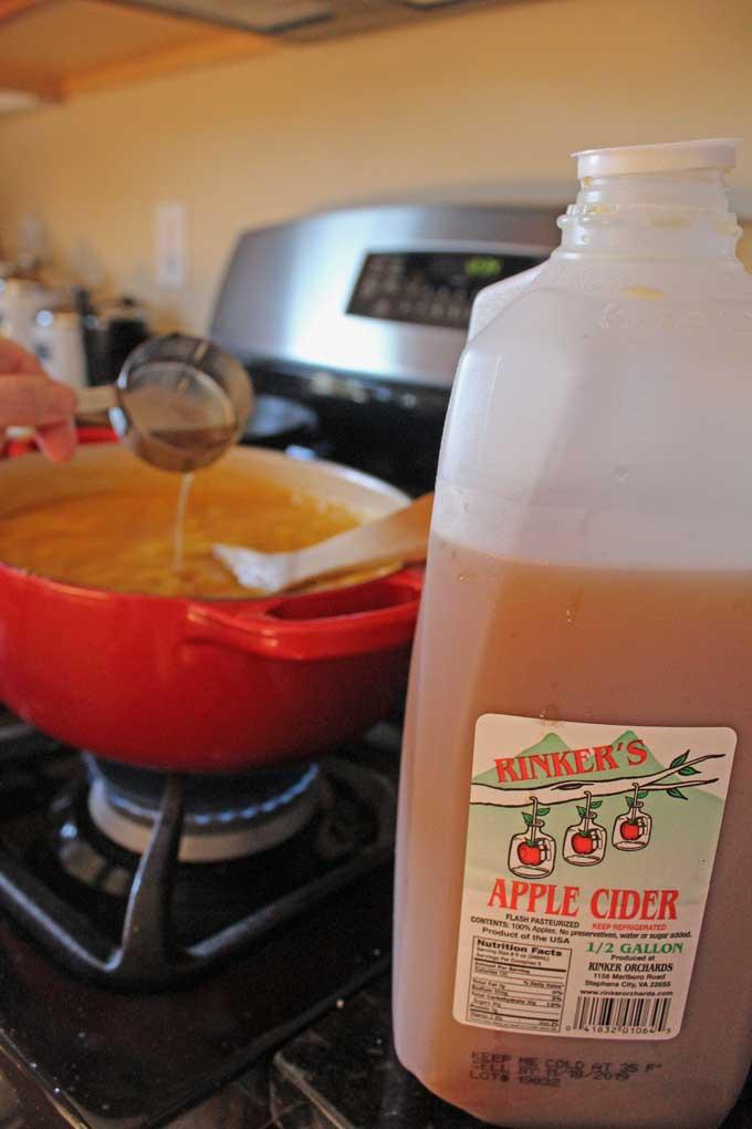 adding apple cider to soup