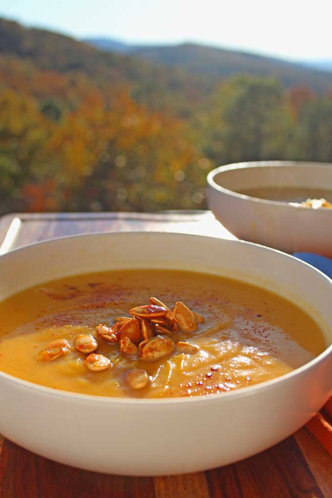 bowls of soup with mountain view