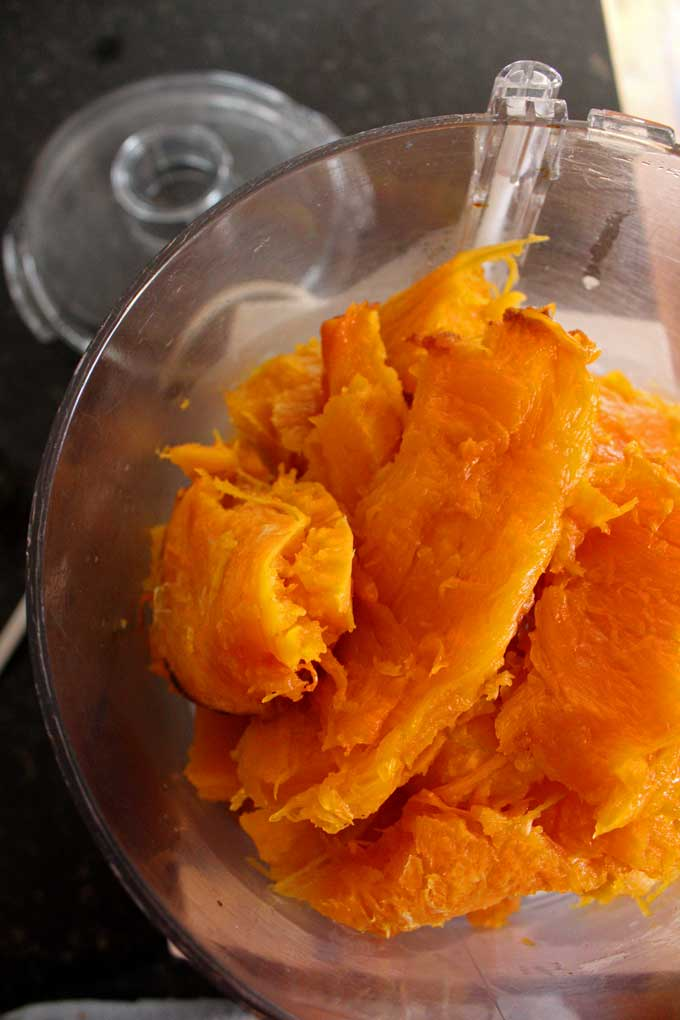 pumpkin inside food processor