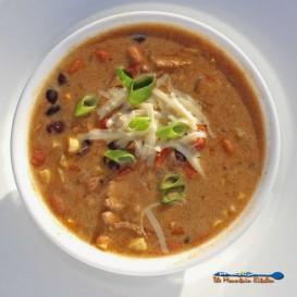 chicken enchilada chili in a bowl