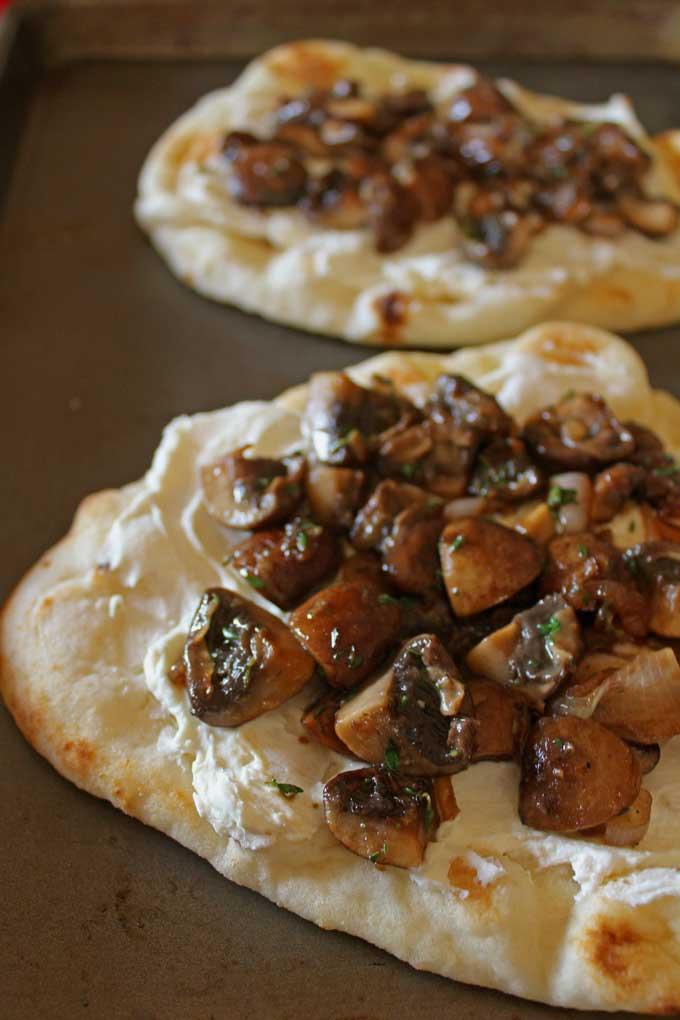 mushrooms and ricotta on flatbread
