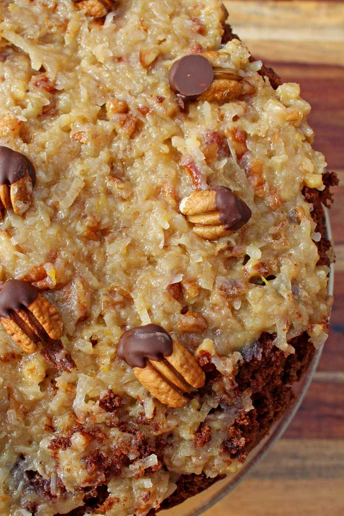 coconut-pecan frosting and chocolate dipped pecans