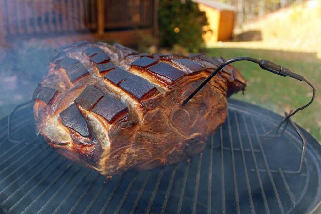brined smoked pork shoulder with temperature probe