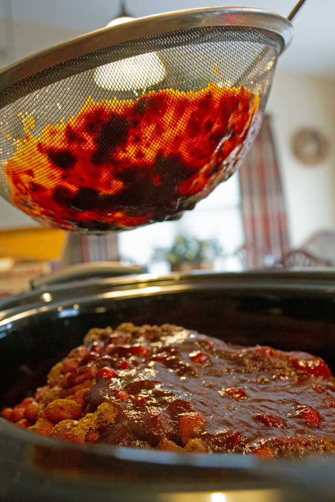 chile sauce with sieve