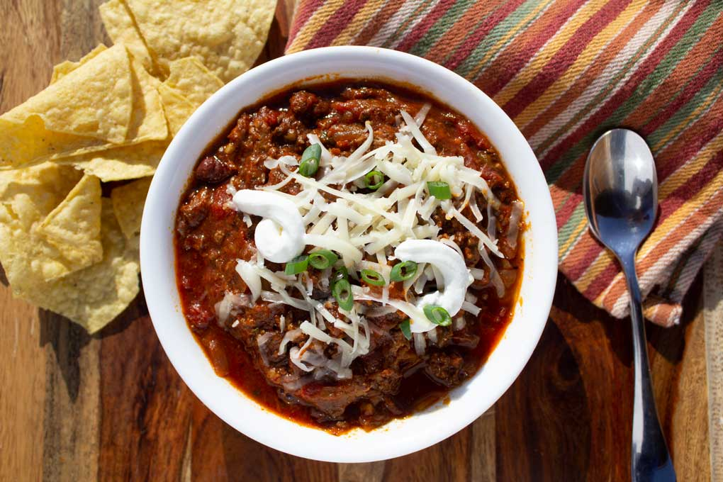 smoked brisket chili in bowl