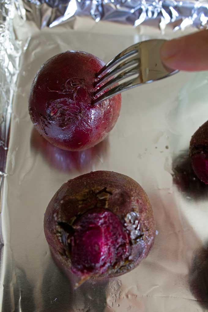 piercing beet with fork