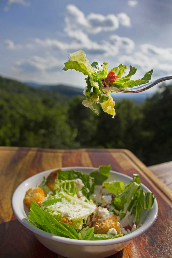 caesar salad with mountain view