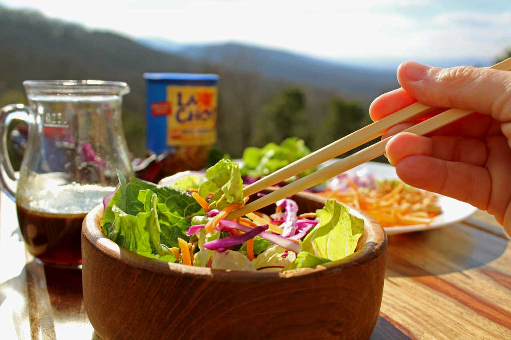 Asian Crunch Salad with mountain view