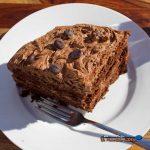a big chuck of chocolate cake on plate