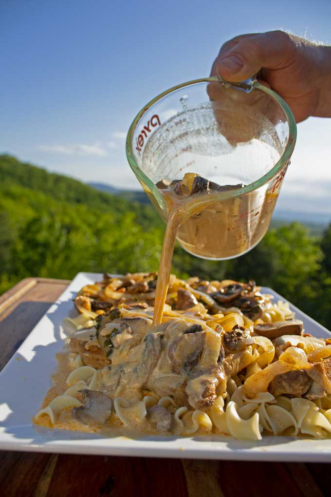 Pork Chop Stroganoff is a main dish with pork chops nestled on a bed of buttery egg noodles with mushrooms and onions drenched in a tangy stroganoff sauce.