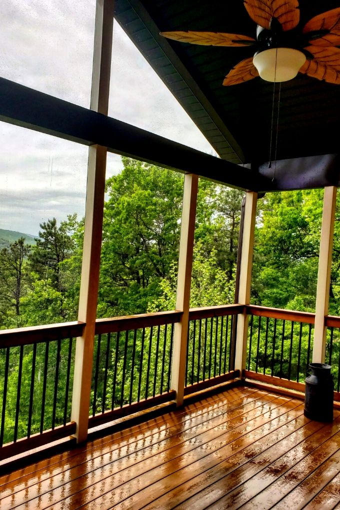 clean porch with mountain view