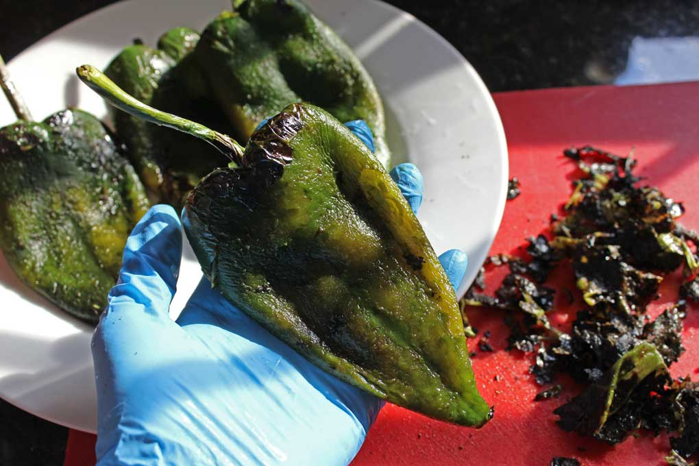 cleaned poblano after blistering skin