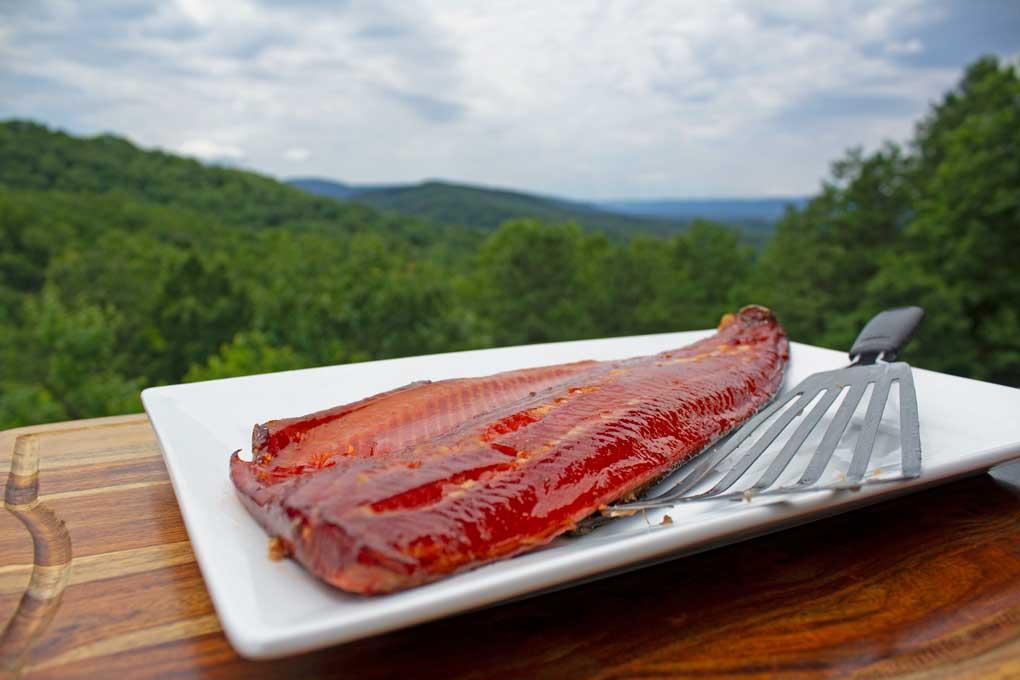 smoked salmon with honey glaze ready to eat with mountain view