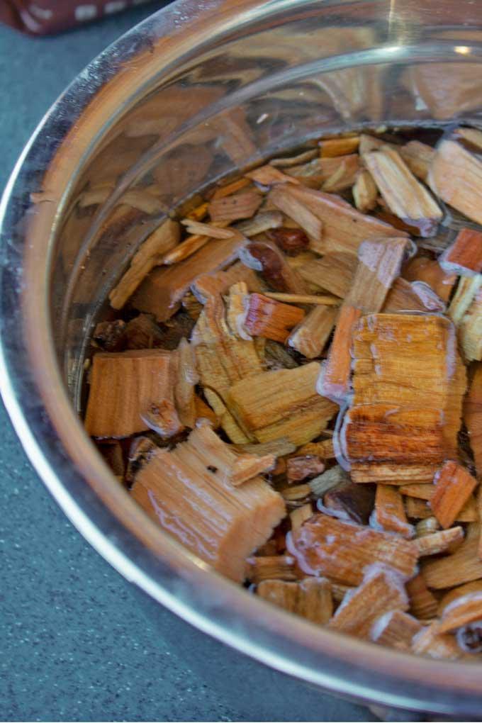 soaking wood chips
