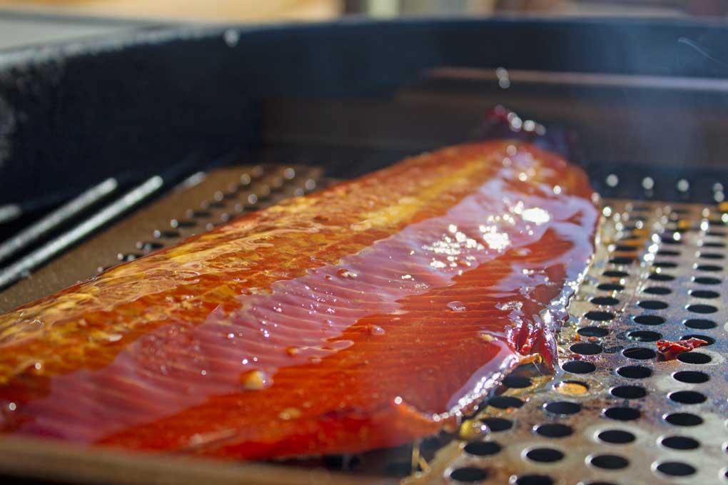 honey glazed salmon on grilling tray