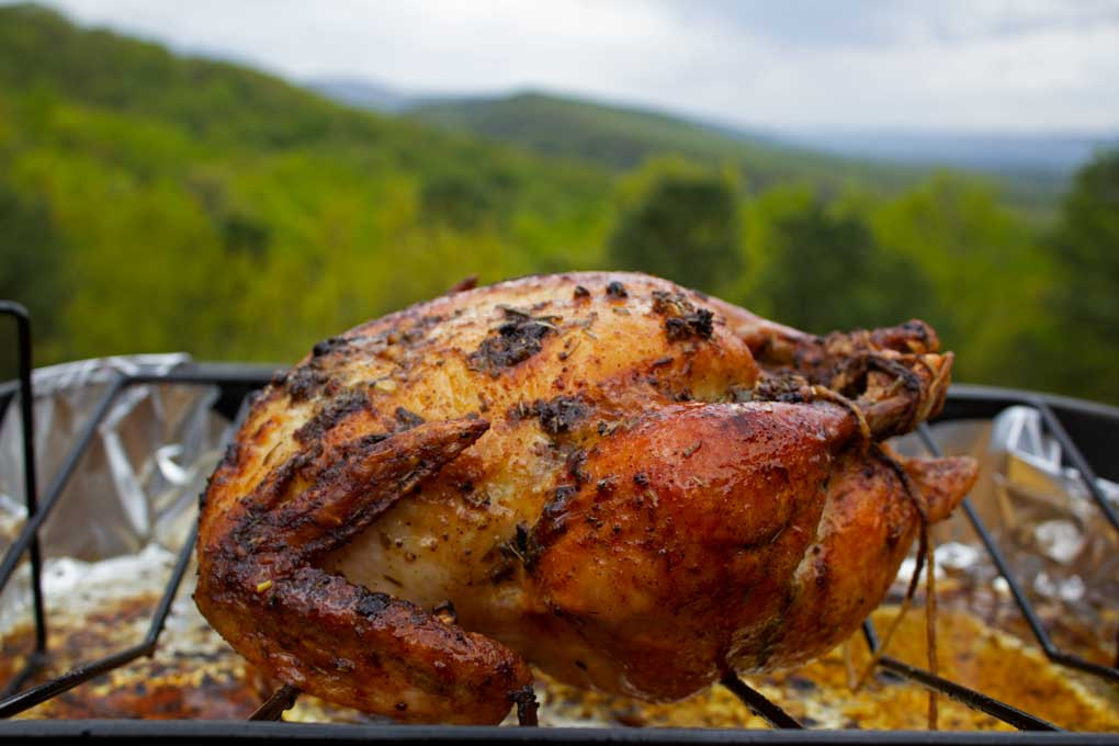 garlic herb butter roasted chicken with mountain view