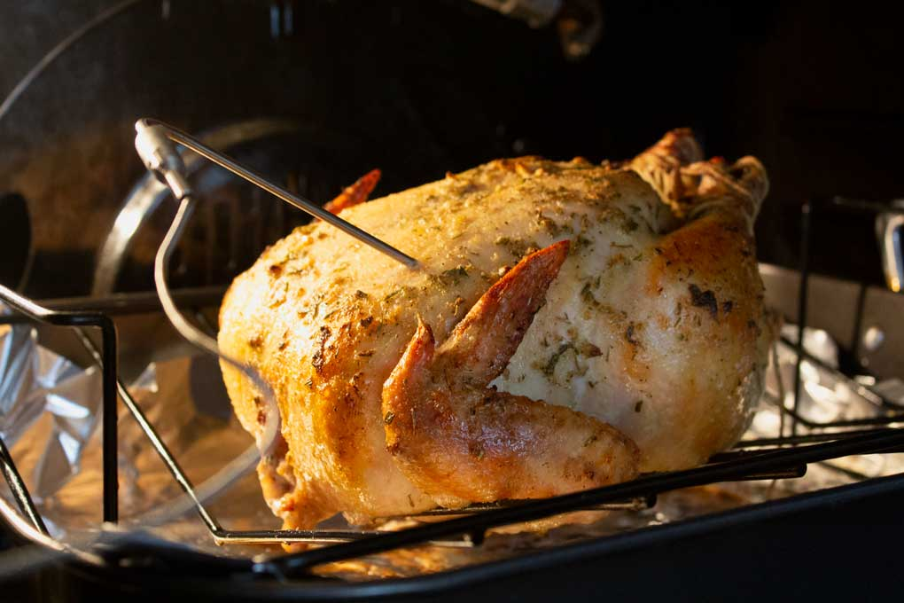 chicken with cooking thermometer probe