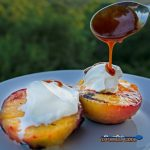 grilled peaches and plums with yogurt and caramel sauce