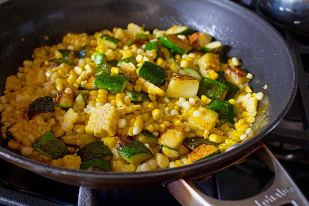 corn and zucchini in skillet