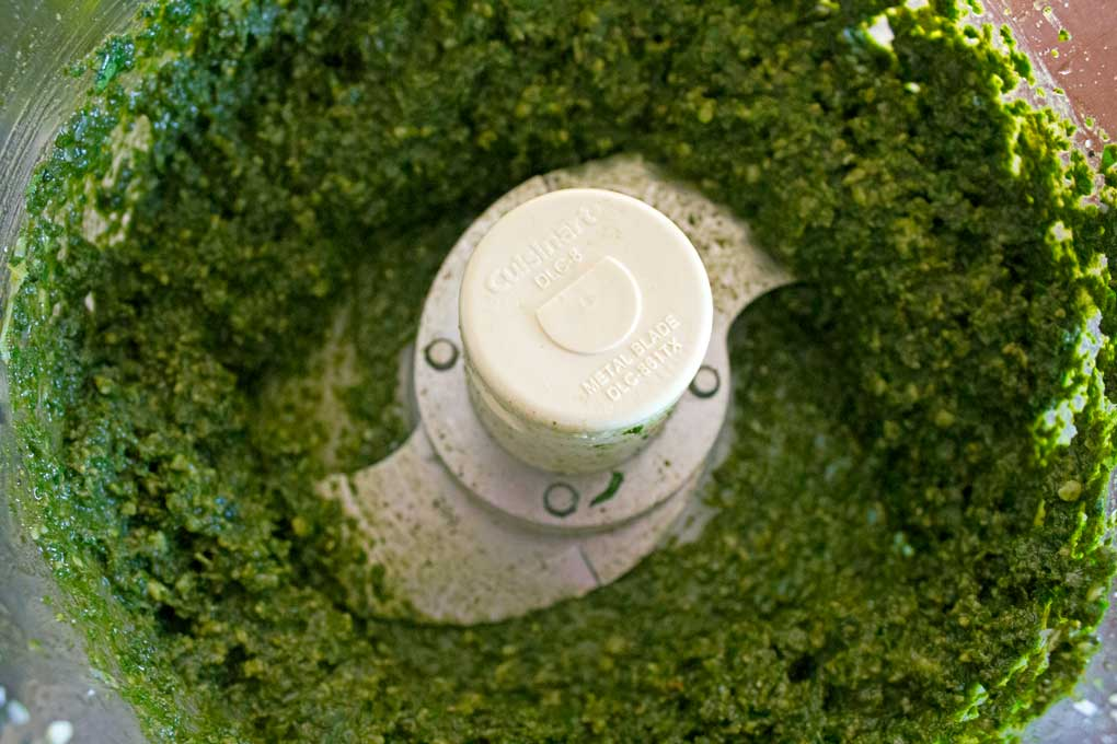 pesto inside food processor bowl