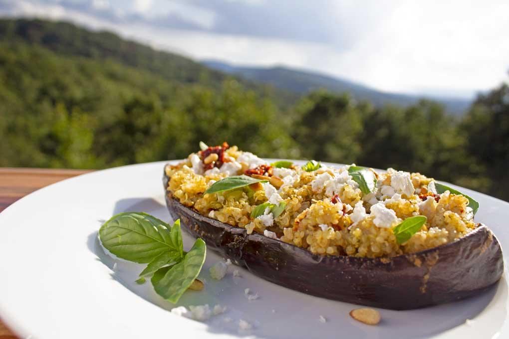Mediterranean quinoa-stuffed eggplant