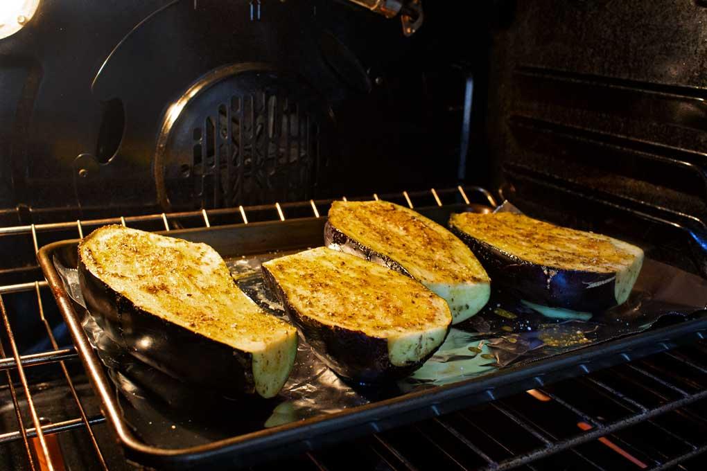 roasting eggplant inside oven