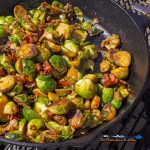 grillled brussels sprouts in cast iron pan