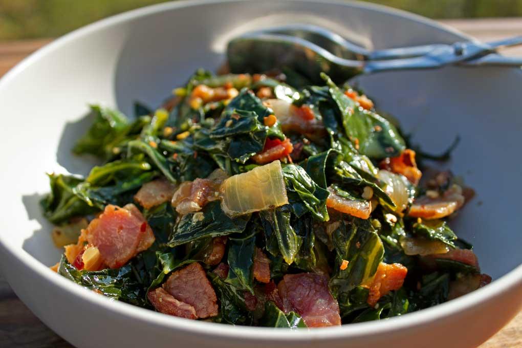 bowl of quick collard greens