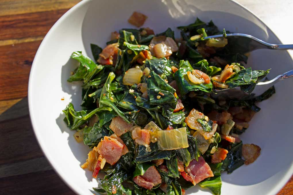 bowl of quick collard greens