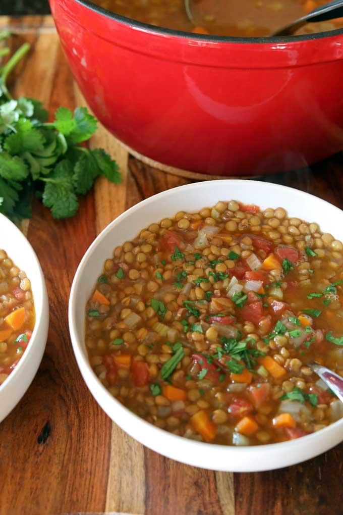 This warming easy lentil soup is healthy and very budget-friendly. A steaming bowl of this savory soup to bring comfort to you on a cold day.