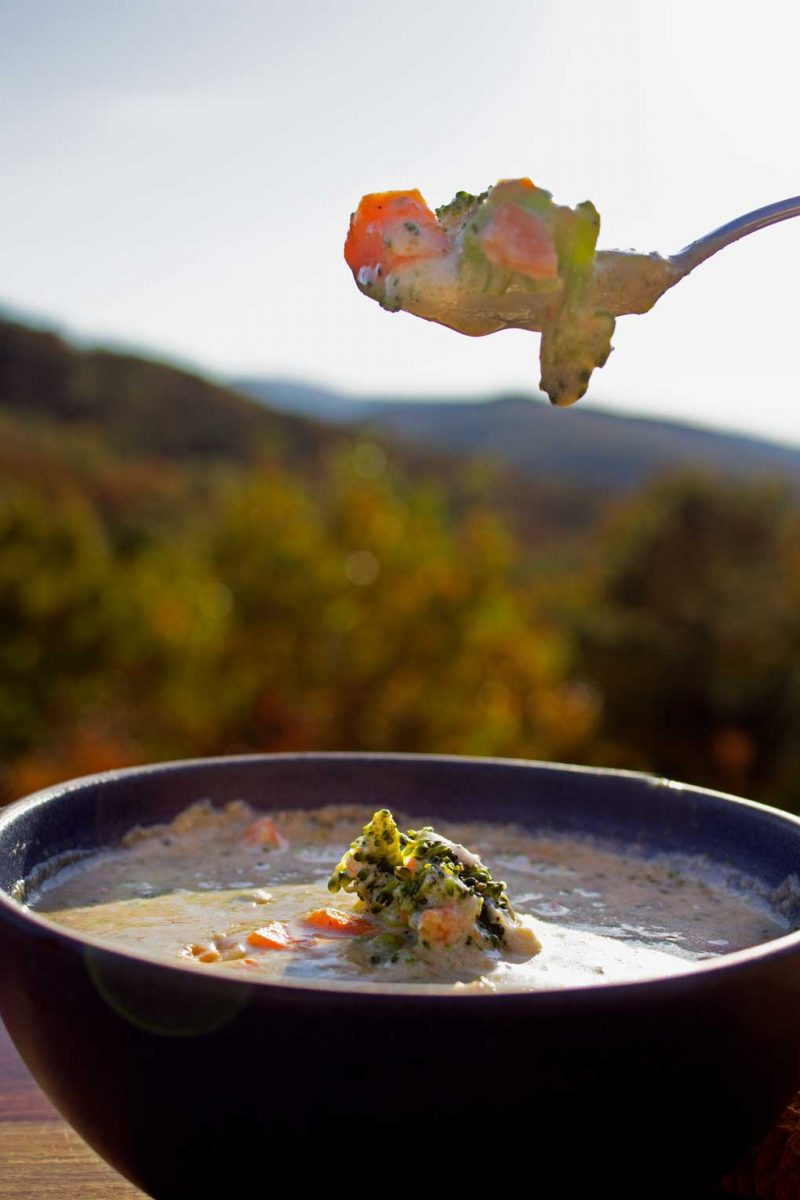 broccoli cheese soup with mountain view