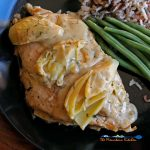 chicken and artichokes on plate with green beans