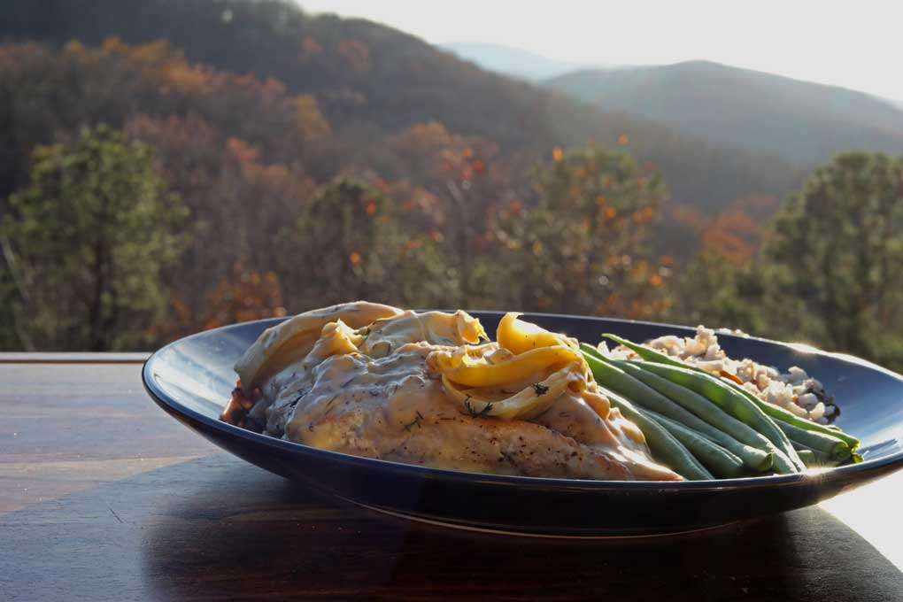 plate of food with mountain view