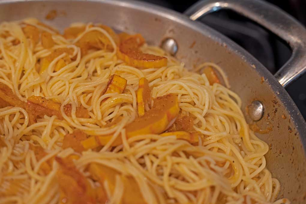 delicata squash and pasta in skillet