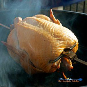 Rotisserie-Smoked Chicken {Using Brine & Mesquite Wood