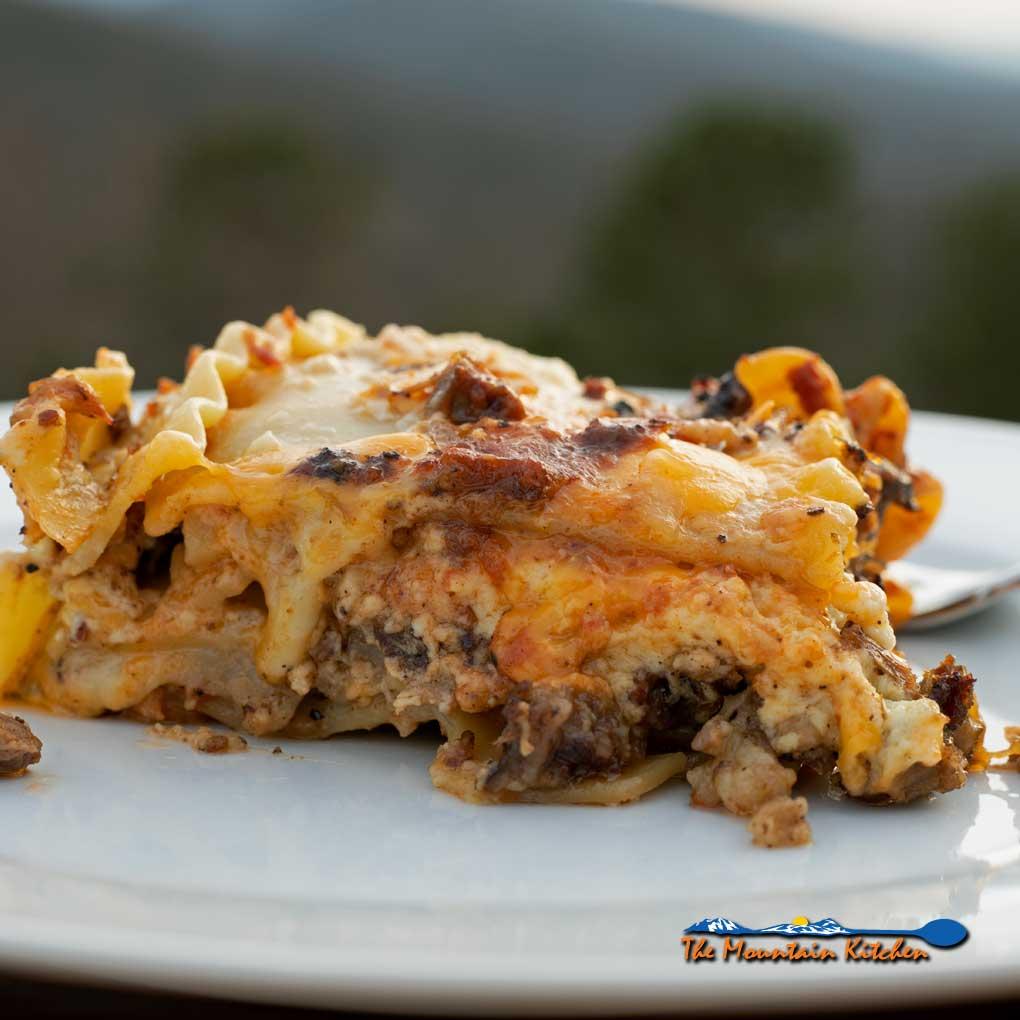 smoked brisket lasagna on plate