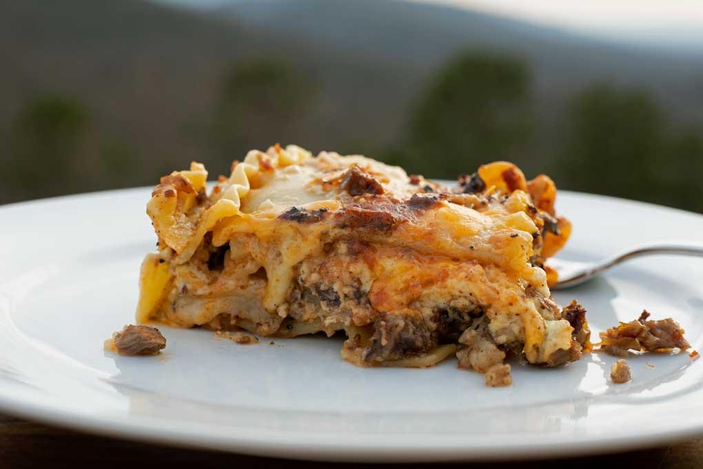 smoked brisket lasagna with mountain view