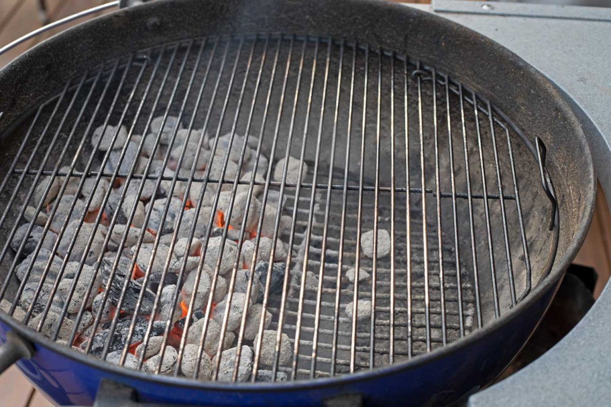 grill set up for 2 zone-fire indirect heat
