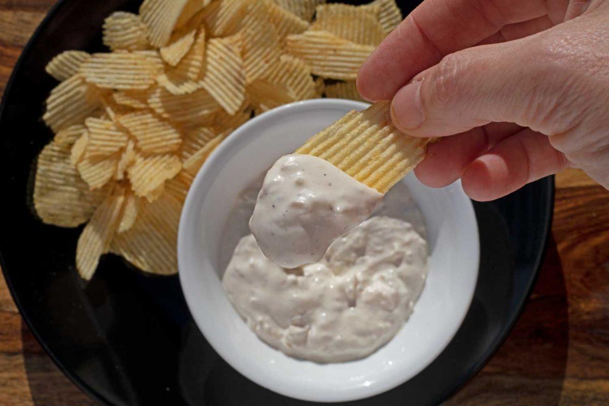 smoked onion dip on potato chip