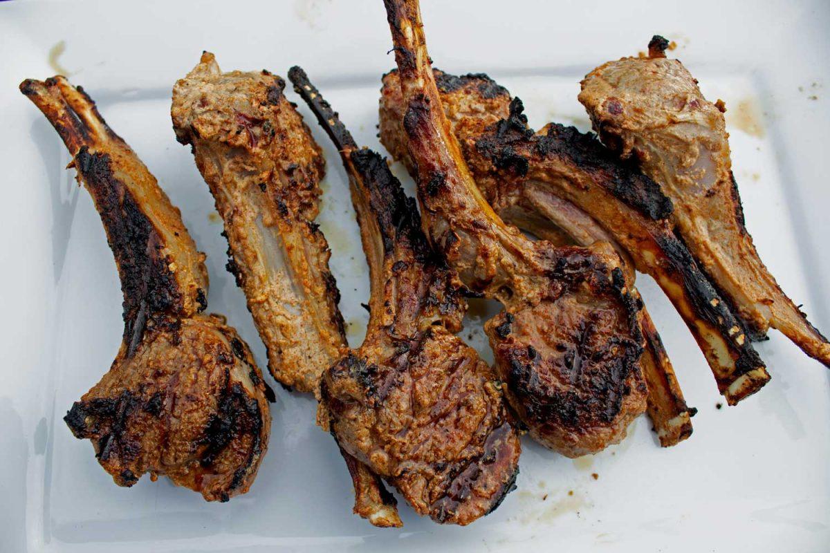 tandoori lamb chops on platter