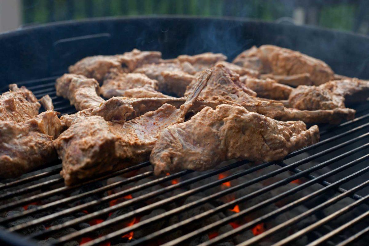 marinated lamb chops on grill