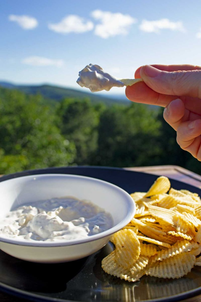 smoked onion dip on chip with mountain view