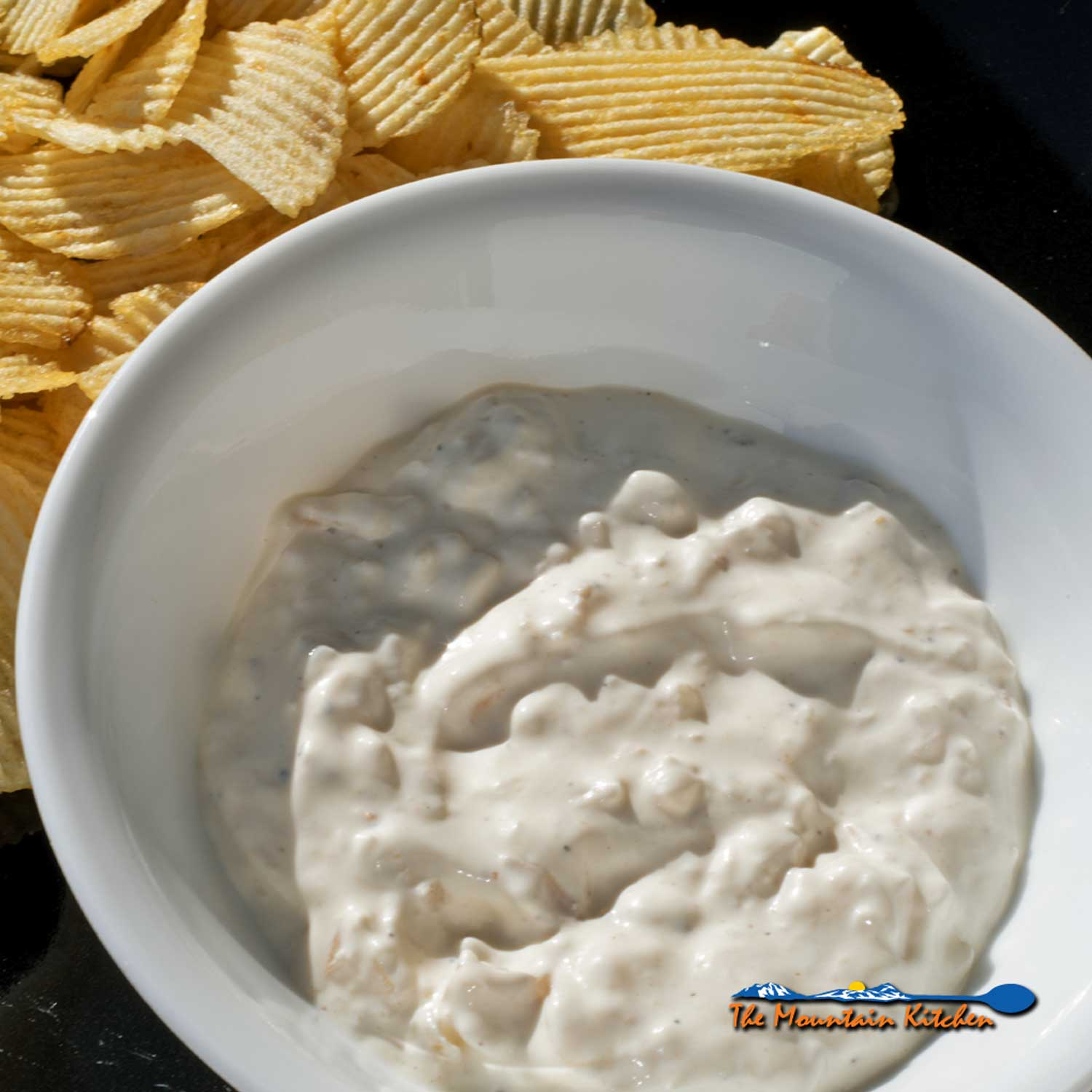 smoked onion dip with chips